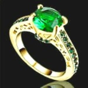 Simulated Green Emerald Ring